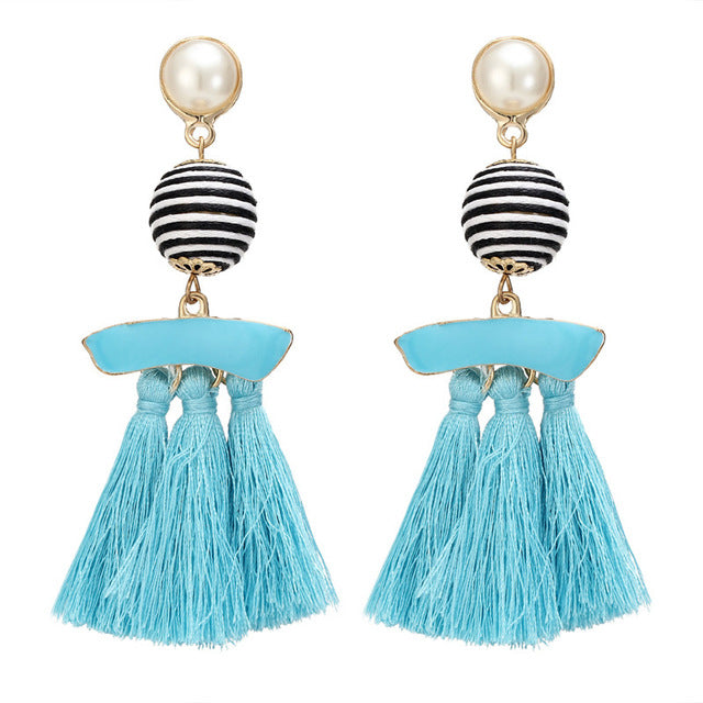 Multi-Colour Pendant Tassel Earrings