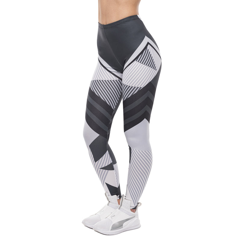 Dark Gray & White Stripes Fitness Leggings