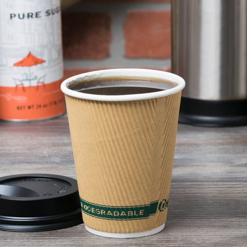 Sleeveless Hot Cup Recyclable and Compostable Kraft