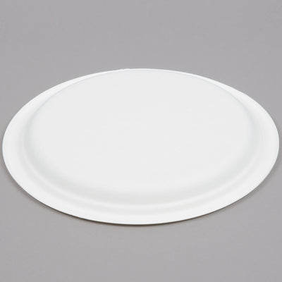 bottom side of ecofriendly round sugarcane fiber plate compostable and recyclable