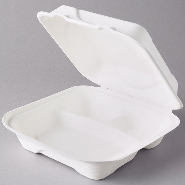 "Take Out Containers 9"" x 9"" x 3"" Sugarcane Bagasse 3-section Hinged Clamshells Compostable"