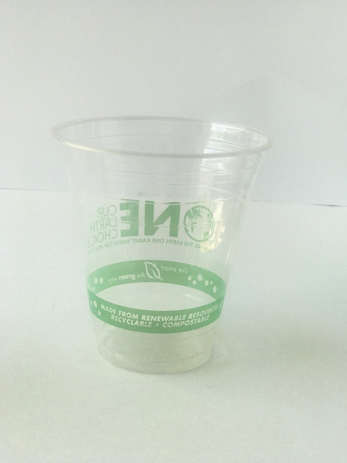 Compostable Clear Cold Cups with Green Print Sizes 9, 12, 16 oz