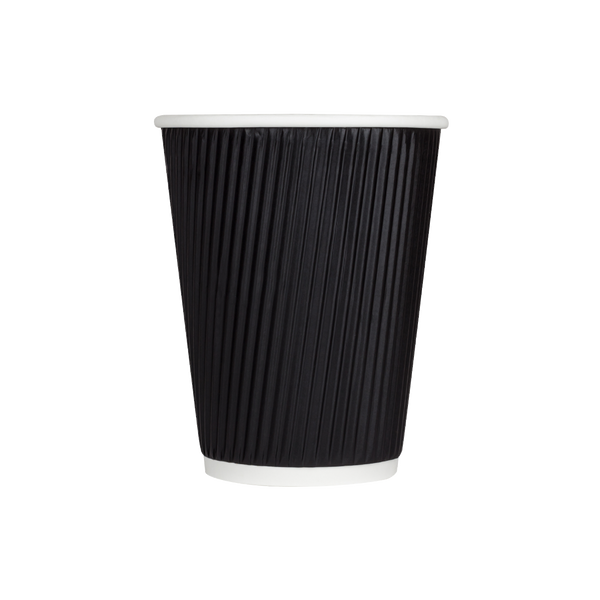 Hot Drink Cups Black Sleeveless Compostable Recyclable Disposable 12 oz, 16 oz 500/case