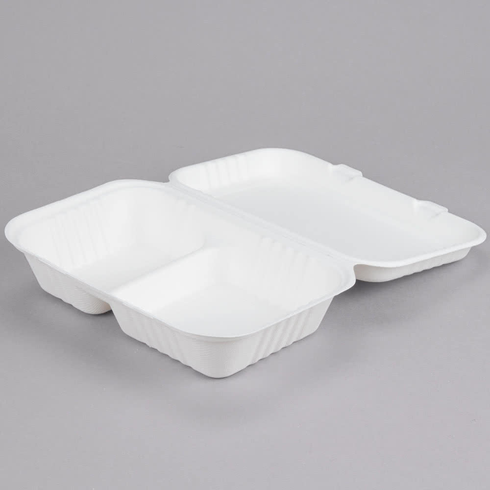 "Take Out Containers 9"" x 6"" x 3"" Sugarcane Bagasse 2-Compartment Hinged Clamshells Compostable"