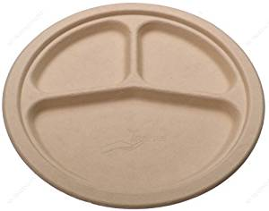 Round Bamboo Fiber 9 inch Plates Three (3) Compartment, Compostable Recyclable