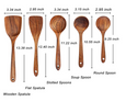 5PC Teak Wood Sustainable Spoons for Cooking_ Reusable Wood Kitchen Utensils Set Tools for Cooking Nonstick Cookware
