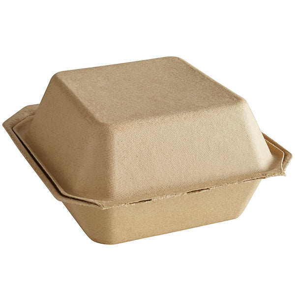 Tellus 6 x 6 x 3 Clamshells Hinged Take Out Containers 450/case Compostable