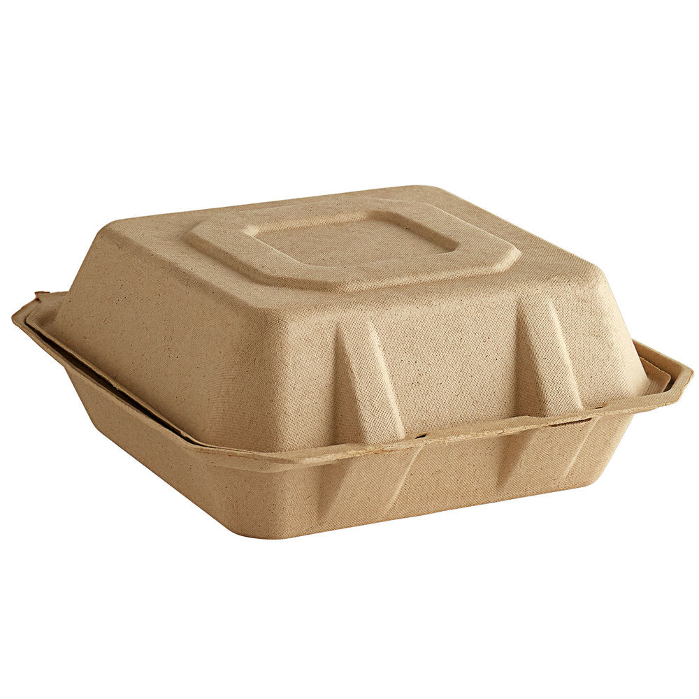 Tellus 9 x 9 x 3 Clamshells Hinged Take Out Containers Triple Compartment 200/case Compostable