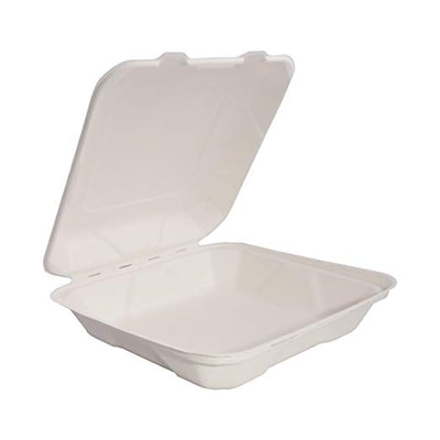 "Take Out Containers 8"" x 8"" x 3"" Sugarcane Bagasse 1-section Hinged Clamshells Compostable"