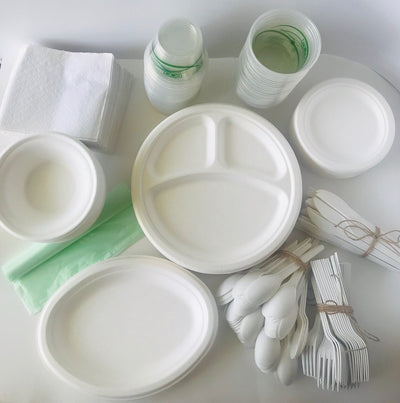 Eco-Party Pack 50 - ROUND SUGAR SET - Biodegradable Tableware