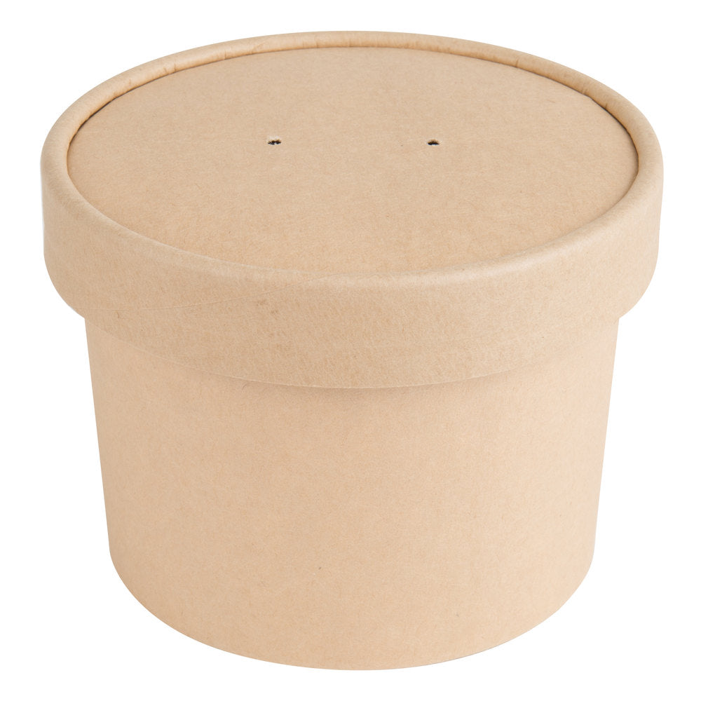 Kraft Paper Food Cups with Vented Paper Lids 250/case, 8 oz, 12 oz and 16 oz