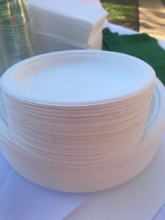 Round Sugarcane Bagasse Plates 6 inch Single Section EcoFriendly Pack ct 25, 50, 500, 1000/case