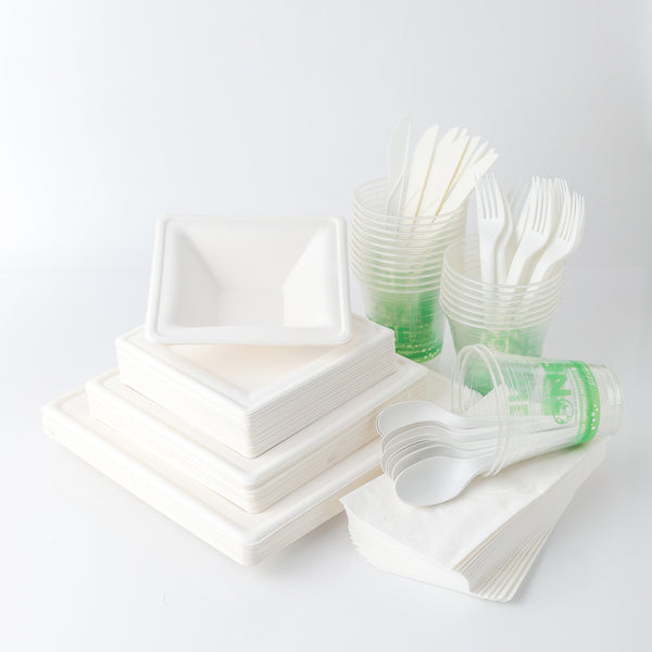 Eco-Party Pack 50 - SQUARE SUGAR SET - Biodegradable Tableware