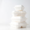 "Take Out Containers 8"" x 8"" x 3"" Sugarcane Bagasse 3-section Hinged Clamshells Compostable"