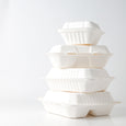 "Take Out Containers 8"" x 8"" x 3"" Sugarcane Bagasse 3-section Hinged Clamshells Compostable 200/case"
