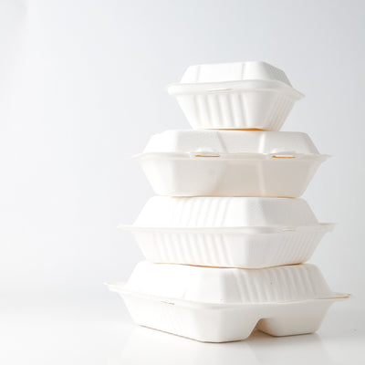 "Take Out Containers 8"" x 8"" Sugarcane Bagasse 3-section Hinged Clamshells, ct 50/200"