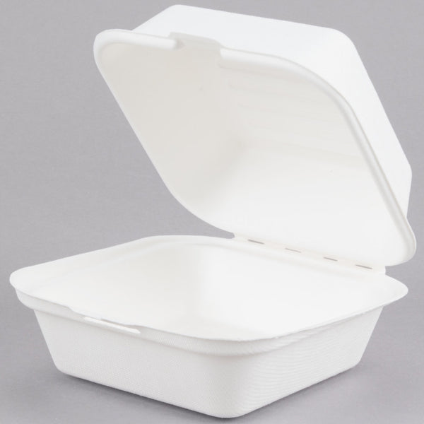 "Take Out Containers 6"" x 6"" x 3"" Sugarcane Bagasse Single Compartment Hinged Clamshells Compostable"