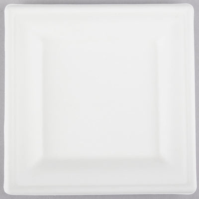 "Square Sugarcane Bagasse Plates 6"", 8"", 10"" Compostable Recyclable Counts 25, 50, 250"