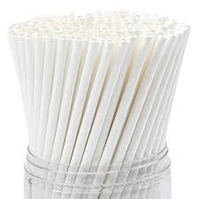 Paper Straws WIDE White Wrapped 8 inch X .31 inch 1000 ct