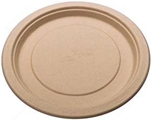 Round Bamboo Fiber 9 inch Plates Single Compartment, Compostable Recyclable