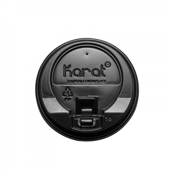 Hot Cup Lids Black Enclosure Lids for 12 oz for Insulated White Hot Cups Recyclable Disposable 1000/case