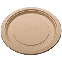 Round Bamboo Fiber 9 inch Plates Single Compartment, Compostable Recyclable in 125, 500 count