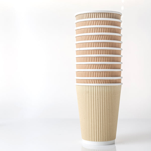 Hot Drink Cups Kraft Sleeveless Compostable Recyclable Disposable 10 oz, 12 oz 500/case