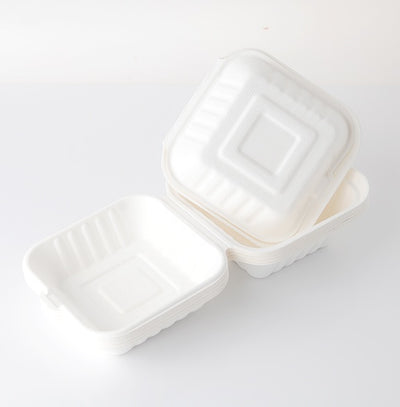"Take Out Containers 6"" x 6"" Sugarcane Bagasse Single Compartment Hinged Clamshells 50 and 500 count"