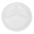 Round Sugarcane Bagasse Plates 9 inch Three Section EcoFriendly Compostable, Count 50, 500