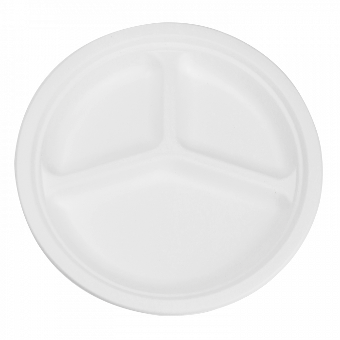Round Sugarcane Bagasse Plates 10 inch Three Section EcoFriendly Compostable, Count 50, 500