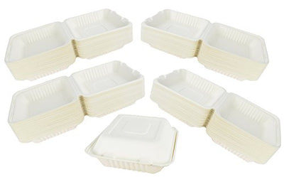 "Take Out Containers Sugarcane Bagasse 1-section Hinged Clamshells 8"", 9"" sizes, ct 50 / 200"
