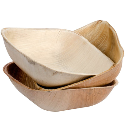 Square Palm Leaf Bowls 7 inch Biodegradable, Organic, 25/package