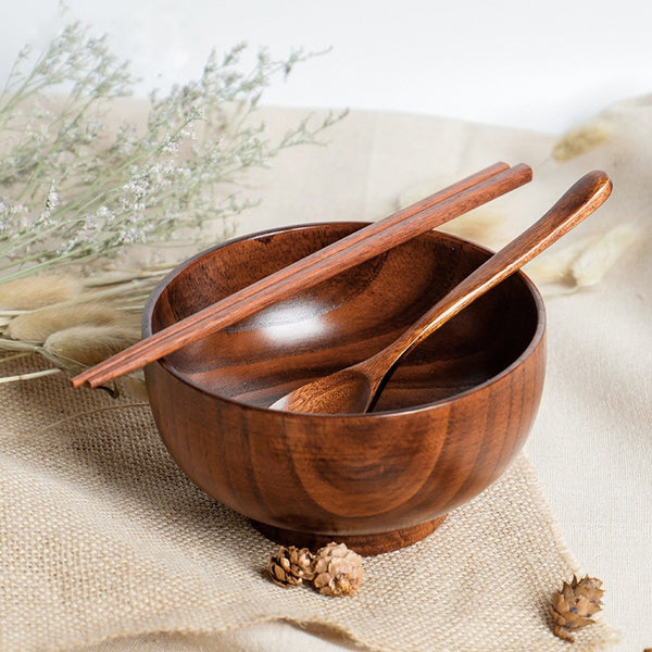 3PC Jujube Wooden Bowl with Chopstick Spoon Salad Bowl Rice Fruit Bowl Food Container