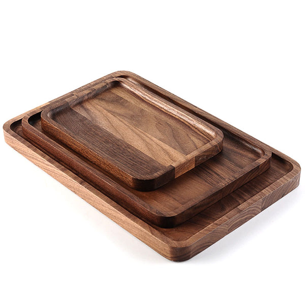 Acacia Wood Food Serving Tray, Vintage Butler Breakfast Tray, Best Kitchen Storage Board for Meat Cheese and Vegetables