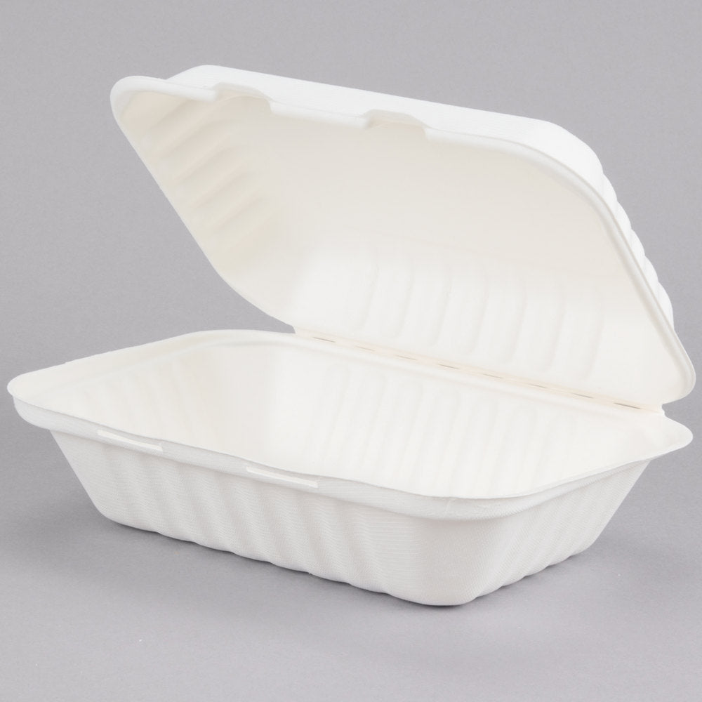 "Take Out Containers 9"" x 6"" x 3"" Sugarcane Bagasse 1-Compartment Hinged Clamshells Compostable"