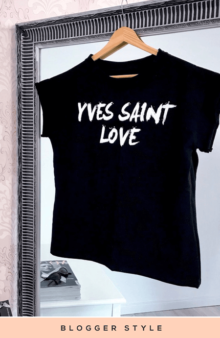YVES SAINT LOVE BLACK STATEMENT T-SHIRT