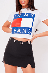 IN MY JEANS WHITE SLOGAN CROP TOP