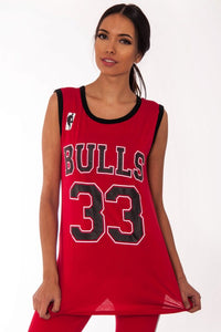 'CHICAGO BULLS' RED CELEBSTYLE  BASKETBALL JERSEY VEST TOP