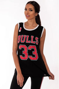 'CHICAGO BULLS' CELEB STYLE BASKETBALL JERSEY VEST TOP
