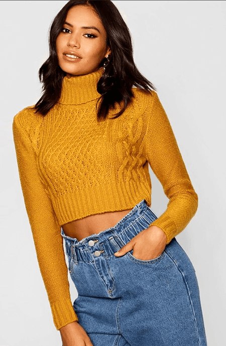 NORAH MUSTARD CABLE KNIT CROPPED JUMPER
