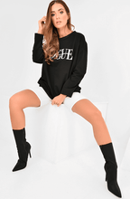 CAMARI BLACK VOGUE SLOGAN OVERSIZED JUMPER