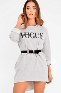 CAMARI GREY VOGUE SLOGAN OVERSIZED JUMPER