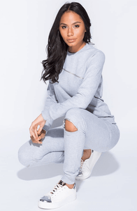 RHIA GREY ZIP SWEATSHIRT & JOGGERS CO-ORD SET