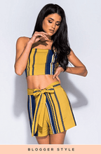 LIMITED EDITION KELLIE YELLOW STRIPED TIE CO-ORD SHORT SET