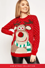 RED 3D REINDEER & SNOWFALL MERRY CHRISTMAS JUMPER