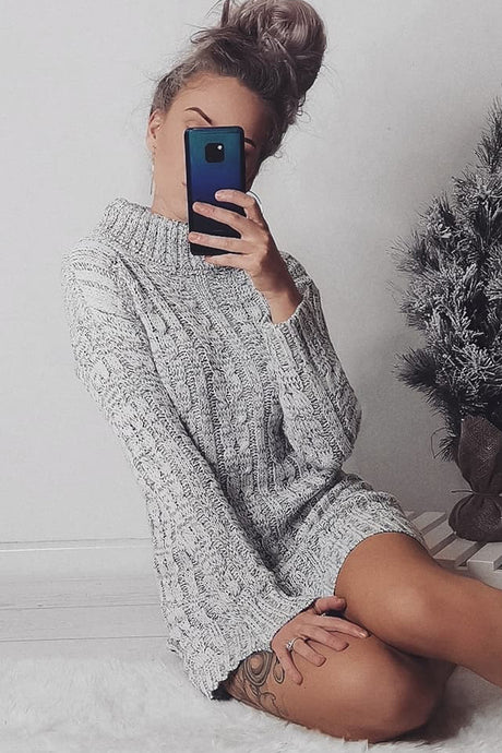 ANDREA GREY CABLE KNIT JUMPER DRESS