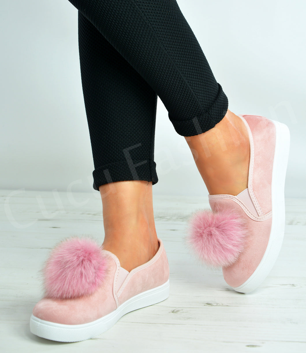 FREYA ROSE PINK FAUX SUEDE POM POM SHOES