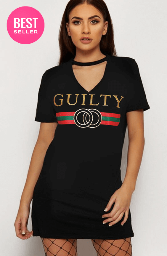 BLACK GUILTY SLOGAN CHOKER T-SHIRT DRESS