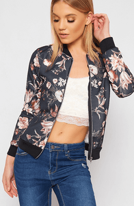 GRACE BLACK FLORAL ZIP BOMBER JACKET