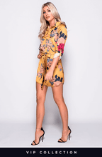 TARA GOLD FLORAL BELTED SHIRT DRESS